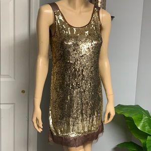 Gold bronze and brown sequin rhinestone dress